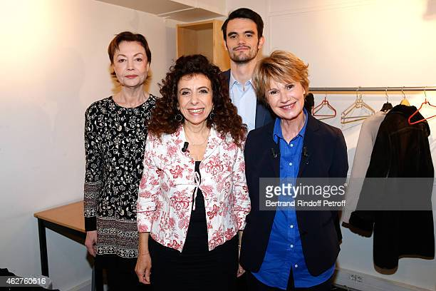 Brigitte Catillon Isabelle De Botton Julien Personnaz and Main guest of the show Miou Miou present the Theater play 'Des gens bien' performed at...