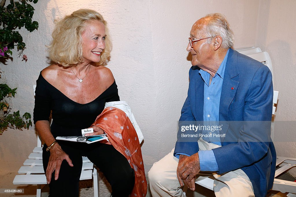 Brigitte Fossey and French Academician Alain Decaux attend the 30th Ramatuelle Festival Day 9 on August 9 2014 in Ramatuelle France