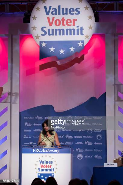 Brigitte Gabriel founder and President of ACT for America speaks at the 2017 Values Voter Summit at the Omni Shoreham Hotel in Washington DC on...
