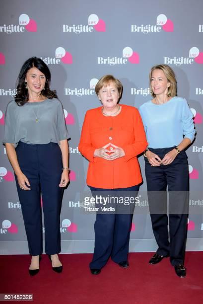 Brigitte Huber German chancellor Angela Merkel and Julia Jaekel during the Brigitte Live Conversation on June 26 2017 in Berlin Germany