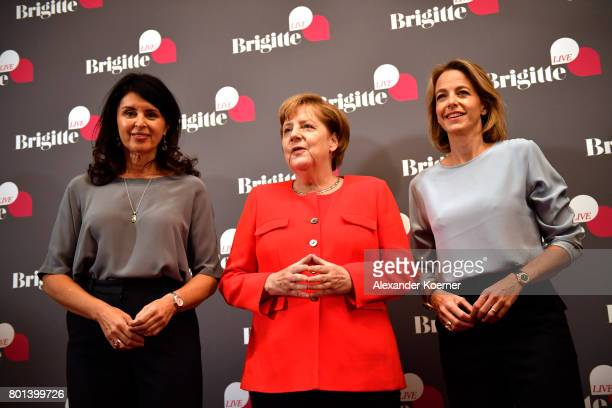 Brigitte Huber German Chancellor Angela Merkel and Julia Jaenkel arrive for the Brigitte Live Event at Maxim Gorki Theater on June 26 2017 in Berlin...