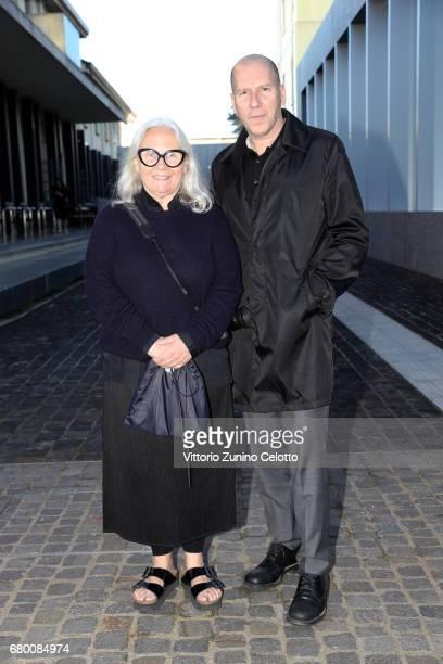 Brigitte Lacombe and Michael Rock attend a 'Private view of 'TV 70 Francesco Vezzoli Guarda La Rai' at Fondazione Prada on May 7 2017 in Milan Italy