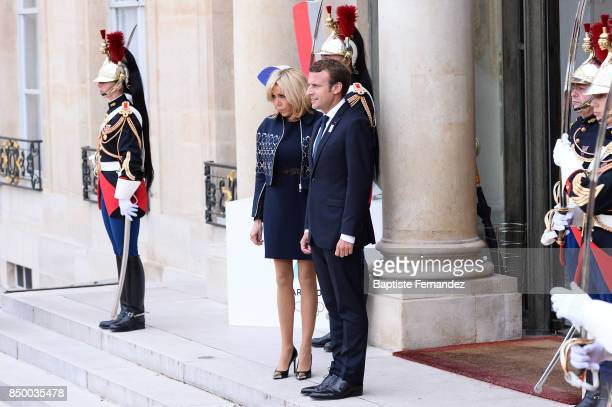Brigitte Macron and Emmanuel Macron French President during the reception of the CIO by the French President at Elysee Palais on September 15 2017 in...