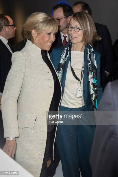 Brigitte Macron and French Minister of Culture Francoise Nyssen attend The Louvre Abu Dhabi Museum Opening on November 8 2017 in Abu Dhabi United...