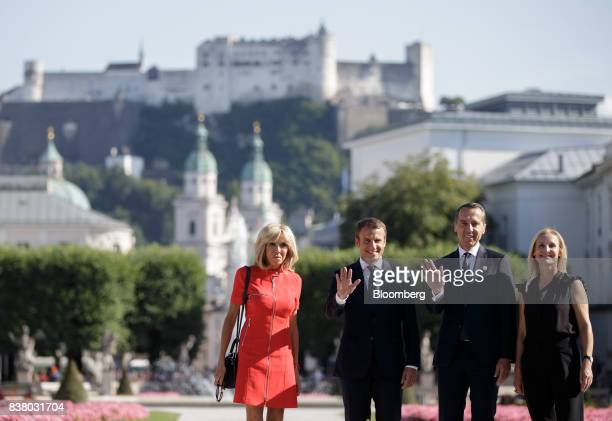 Brigitte Macron France's first lady from left Emmanuel Macron France's president Christian Kern Austria's chancellor and his wife Eveline...