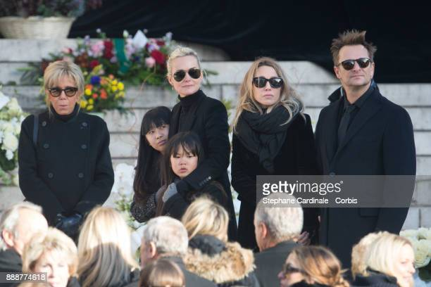 Brigitte Macron Jade Hallyday Laetitia Hallyday Joy Hallyday Laura Smet and David Hallyday during Johnny Hallyday's Funeral Procession at Eglise De...