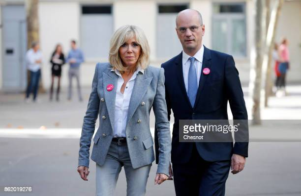 Brigitte Macron the wife of the French president and French Education Minister JeanMichel Blanquer arrive to attend the launch of The European...