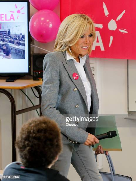 Brigitte Macron the wife of the French president attends the launch of The European Leukodystrophy Association Campaign on October 16 2017 in Paris...