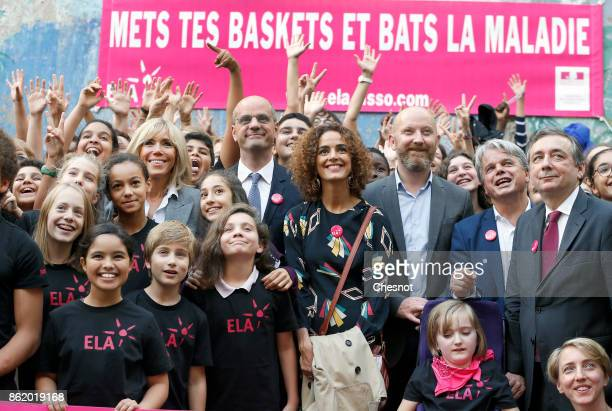 Brigitte Macron the wife of the French president French Education Minister JeanMichel Blanquer FrenchMoroccan writer Leila Slimani and founder and...
