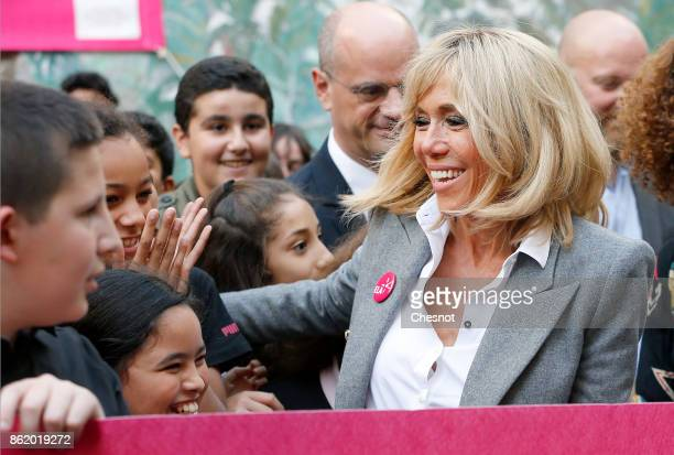 Brigitte Macron the wife of the French president is greeted by children as she attends the launch of The European Leukodystrophy Association Campaign...