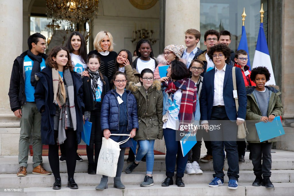 French President Emmanuel Macron Receives Children At Elysee Palace For Children's Day In Paris
