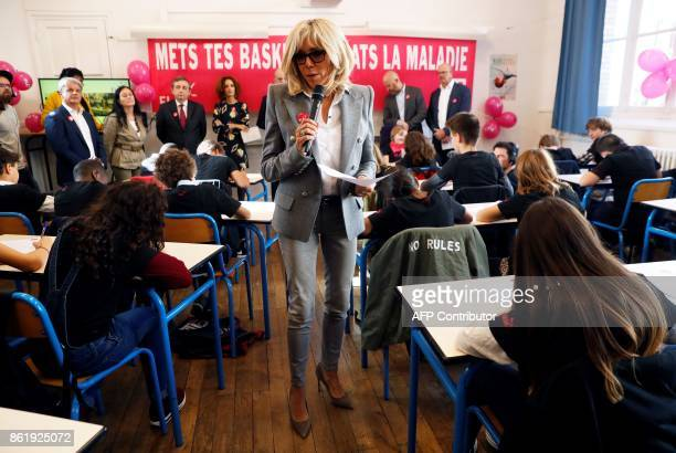 Brigitte Macron the wife of the French president reads a dictation exercise during the 14h edition of the event organised by the European Association...