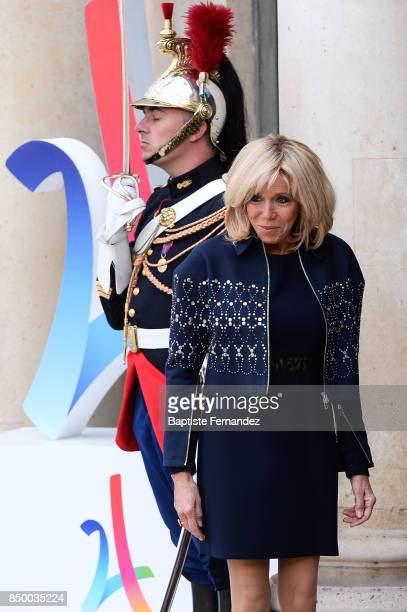 Brigitte Macron wife of Emmanuel Macron French President during the reception of the CIO by the French President at Elysee Palais on September 15...