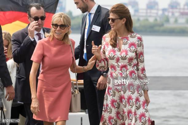 Brigitte Macron wife of Emmanuel Macron President of France and Juliana Awada wife of Mauricio Macri Presidentof Argentina leave the boat 'Diplomat'...