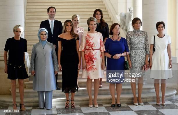 Brigitte Macron wife of French President Emine Gulbaran Erdogan wife of Turkey's President First Lady of the US Melania Trump Queen Mathilde of...