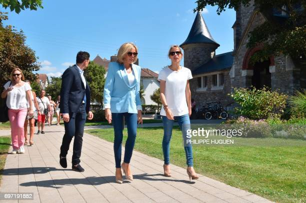 Brigitte Macron wife of French President Emmanuel Macron and her daughter Tiphaine Auziere arrive to vote for the second round of the French...