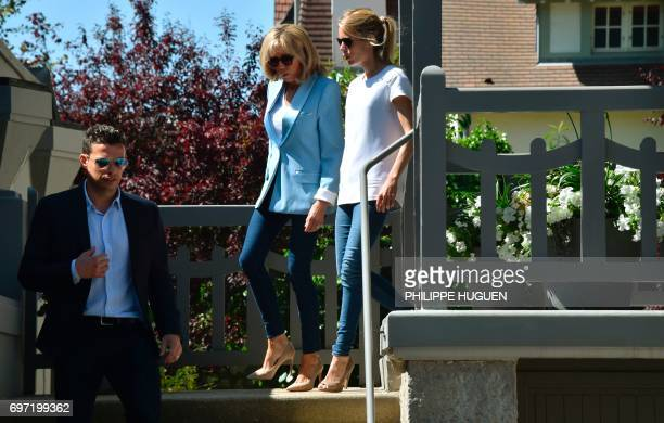 Brigitte Macron wife of French President Emmanuel Macron and her daughter Tiphaine Auziere leave their home in Le Touquet northern France on June 18...