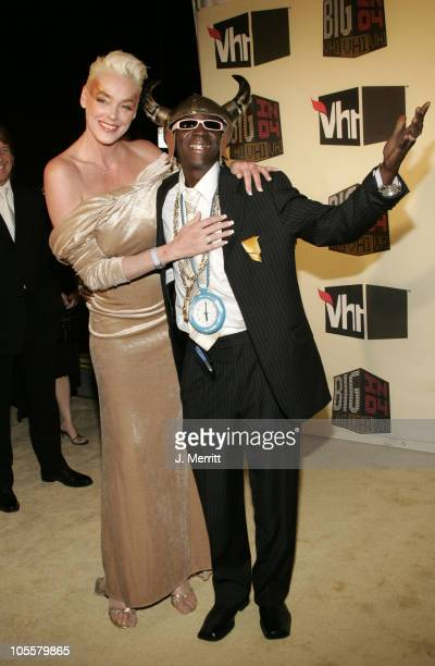 Brigitte Nielsen and Flavor Flav during VH1 Big in '04 Arrivals at Shrine Auditorium in Los Angeles California United States