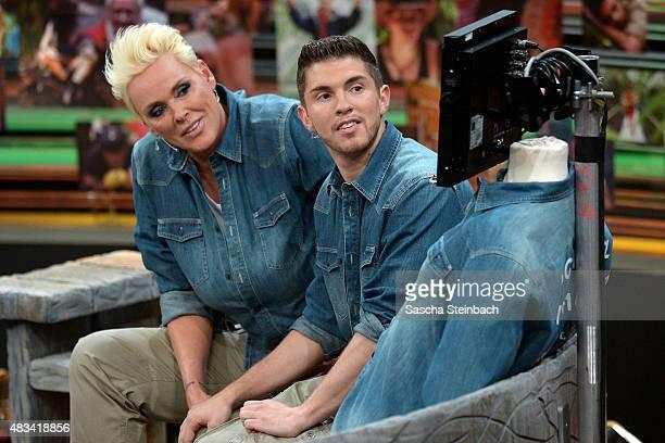 Brigitte Nielsen and Joey Heindle attend the final of the television show 'Ich bin ein Star lasst mich wieder rein' on August 8 2015 in Huerth Germany