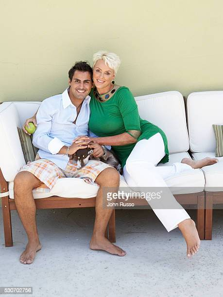 Brigitte Nielsen and Mattia Dessi at Home