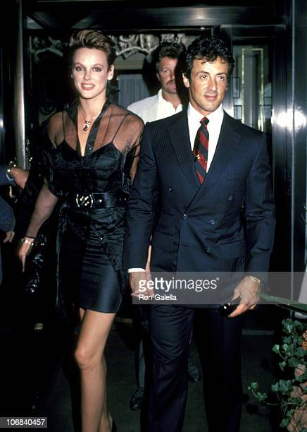 Brigitte Nielsen and Sylvester Stallone during Sylvester Stallone and Brigitte Nielsen Sighting Outside Le Cirque Restaurant in New York City August...