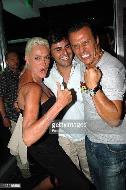 Brigitte Nielsen Mattia Dessi Jean Roch during French Closer St Tropez Party at VIP Room in Saint Tropez France