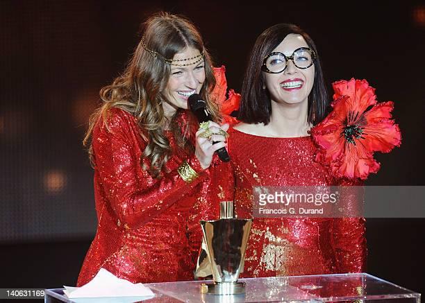 'Brigitte' singers Sylvie Hoarau and Aurelie Saada receive an award during 'Les Victoires de La Musique 2012' at Palais des Congres on March 3 2012...
