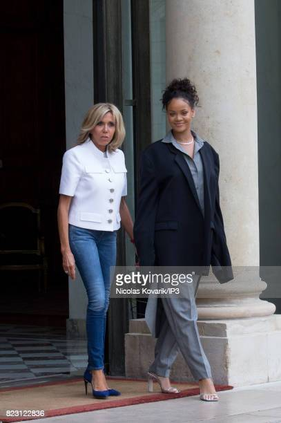 Brigitte Trogneux Emmanuel Macron's wife welcomes Rihanna Singer and Founder of Clara Lionel Foundation who arrives to meet French President at the...
