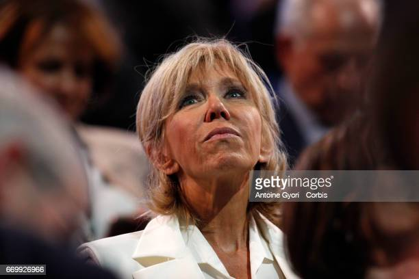 Brigitte Trogneux the wife of Emmanuel Macron French Presidential Candidate attends her husband political meeting on April 17 2017 in Paris France...
