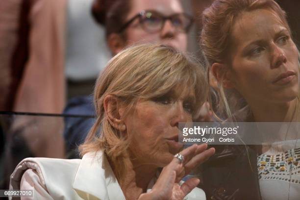 Brigitte Trogneux the wife of Emmanuel Macron French Presidential Candidate and her daughter Laurence AuziereJourdan attend Emmanuel Macron political...