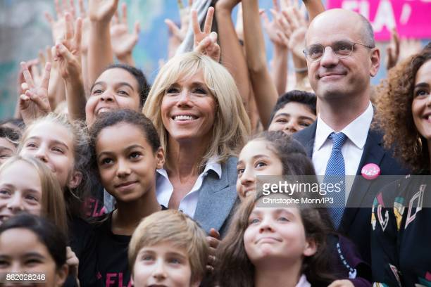Brigitte Trogneux wife of French President Emmanuel Macron and French Minister of Education Jean Michel Blanquer participate in the reading of an...
