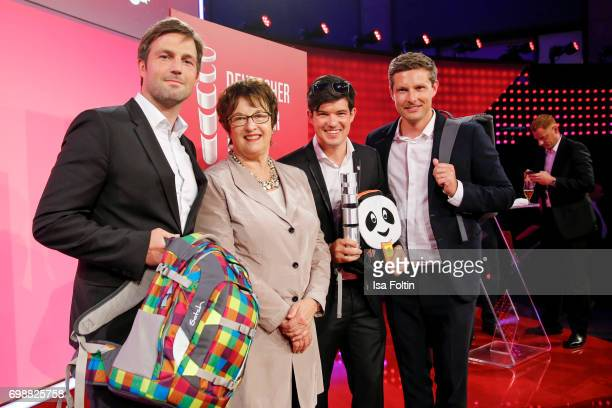 Brigitte Zypries and the award winners Oliver Steinki Florian Michajlezko and SvenOliver Pink attend the Deutscher Gruenderpreis on June 20 2017 in...