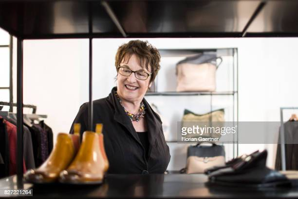 Brigitte Zypries German Minister for Economics and Energy is pictured during her visit at the 'Weiberwirtschaft' a cooperative society for woman and...