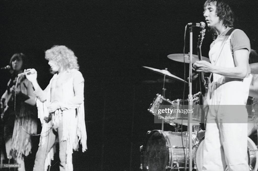 Briitsh rock group The Who perform onstage at the Fillmore East, New York, New York, October 21, 1969. Pictured are, from left, bassist John Entwhistle (1944 - 2002), singer Roger Daltrey, and guitarist Pete Townshend.
