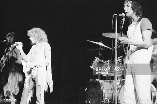 Briitsh rock group The Who perform onstage at the Fillmore East New York New York October 21 1969 Pictured are from left bassist John Entwhistle...