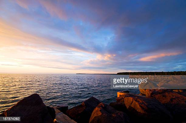Herrlichen Lake Superior Sonnenuntergang