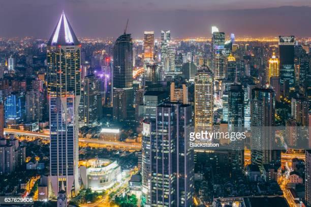brilliantly illuminated Shanghai