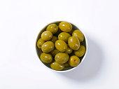 Bowl of brine cured green olives