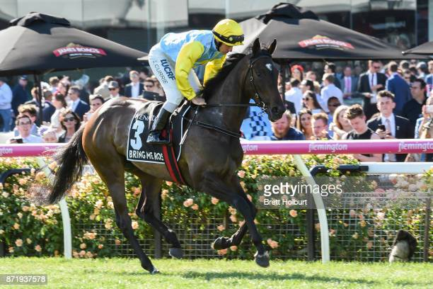 Bring Me Roses ridden by Luke Currie heads to the barrier before the Kennedy Oaks at Flemington Racecourse on November 09 2017 in Flemington Australia