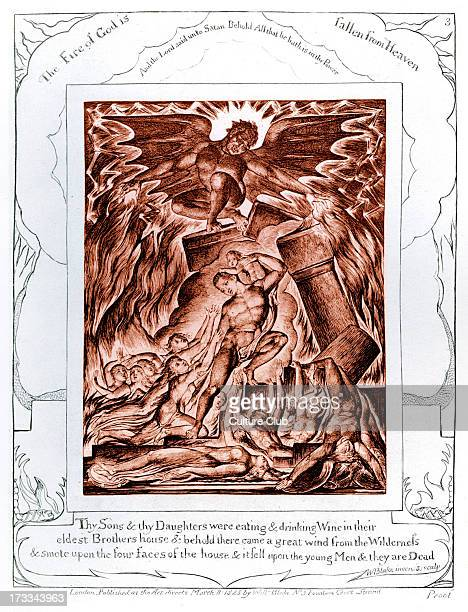 Bringing Destruction on the Sons and Daughters of Job by William Blake from the illustrations of the Book of Job 1825 Captions read 'The Fire of God...