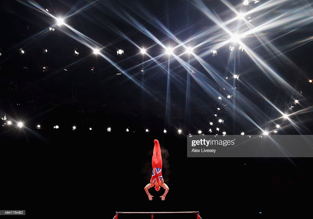 Brinn Bevan Of Great Britain Competes In The High Bar During Day Three 2015