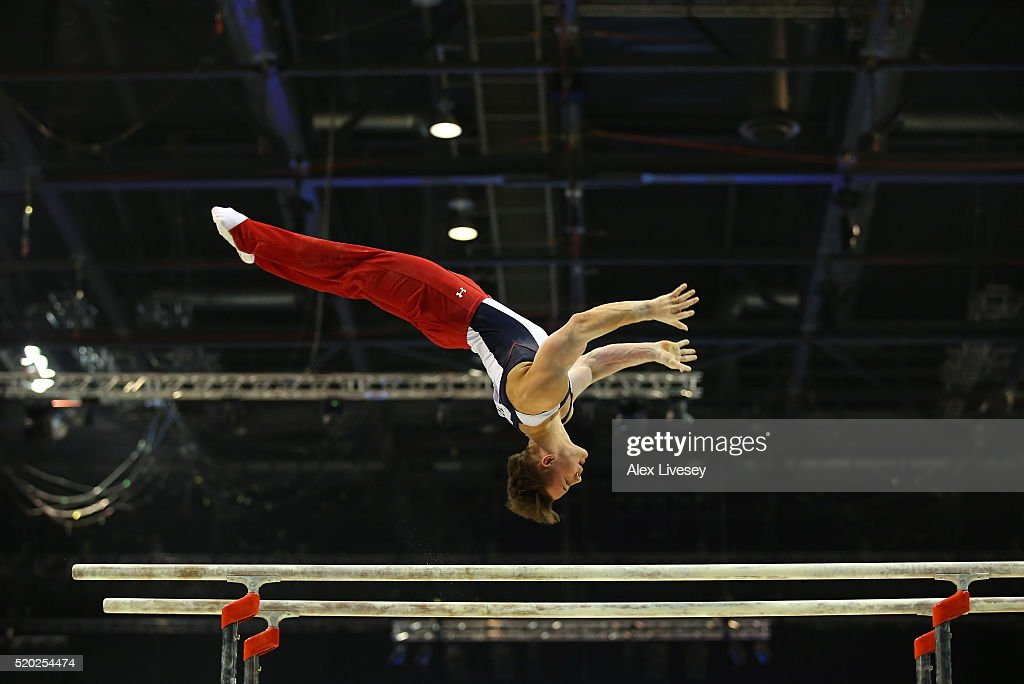 Brinn Bevan of Great Britain competes in the Parallel Bars during the British Gymnastics Championships at the Echo Arena on April 10 2016 in...