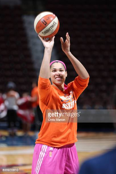 Brionna Jones of the Connecticut Sun shoots the ball before the game against the Phoenix Mercury on August 20 2017 at Mohegan Sun Arena in Uncasville...