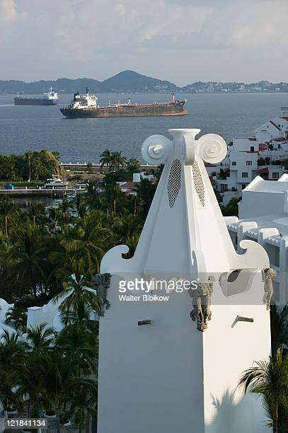 Brisas Las Hadas Resort with freighter on Manzanillo Bay, Mexico