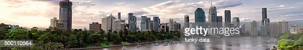 panorama del distrito de negocios de Brisbane al atardecer