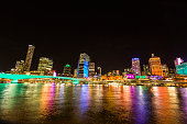 Brisbane CBD lit up with coloured lights for the G20 celebration opening night on October 24 2014 in Brisbane Australia The G20 Cultural Celebrations...