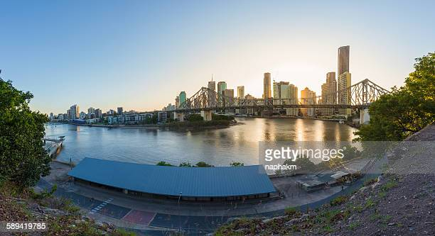 Brisbane city and story bridge during sunset