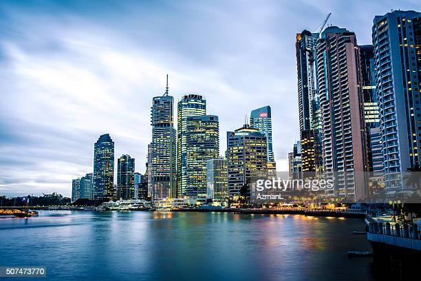 La ciudad de Brisbane al atardecer