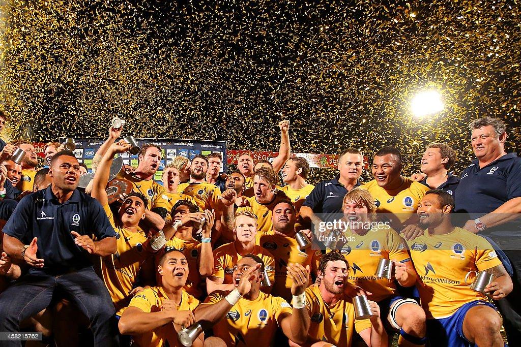 Brisbane City celebrate winning the 2014 NRC Grand Final match between Brisbane City and Perth Spirit at Ballymore Stadium on November 1 2014 in...
