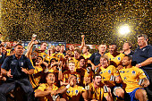 Brisbane City celebrate winning the 2014 NRC Grand Final match between Brisbane City and Perth Spirit at Ballymore Stadium on November 1 2014 in...